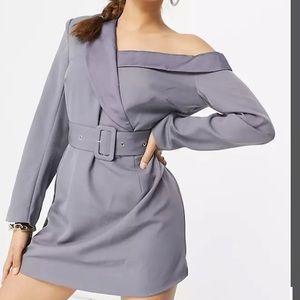 BNWT Petite ASOS Blazer Dress Blue Grey